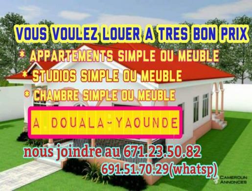 Maisons et apartements à louer, Douala -  Cameroun